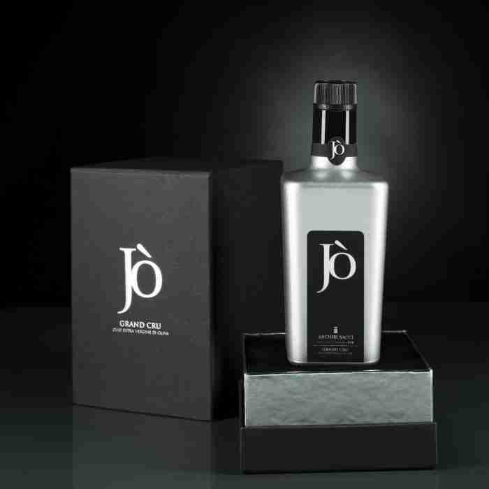 Olio Jò confezione e bottiglia argento